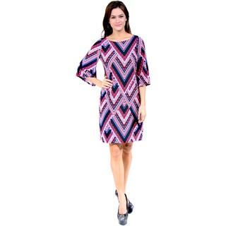 24/7 Comfort Apparel Women's Zig-zag Knee Length Dress
