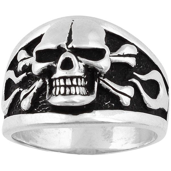 Sterling Silver Flaming Danger Skull Ring 14427312