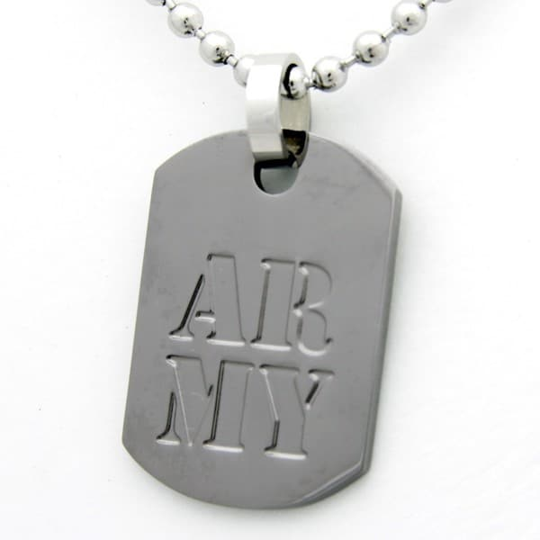 US Army Dog Tag Gunmetal Necklace