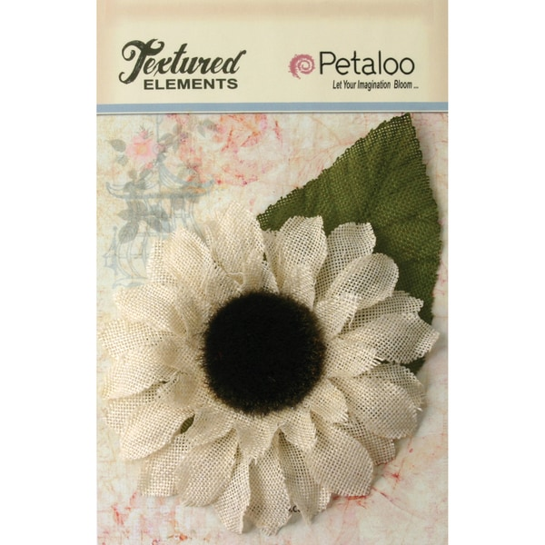 "Textured Elements Burlap Sunflower 5""-Ivory"