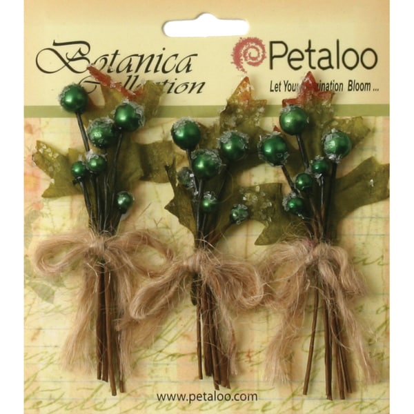 "Botanica Sugared Berry Clusters 3.25"" 3/Pkg-Pine Green"