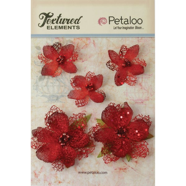 Textured Elements Jeweled Flowers 5/Pkg-Red