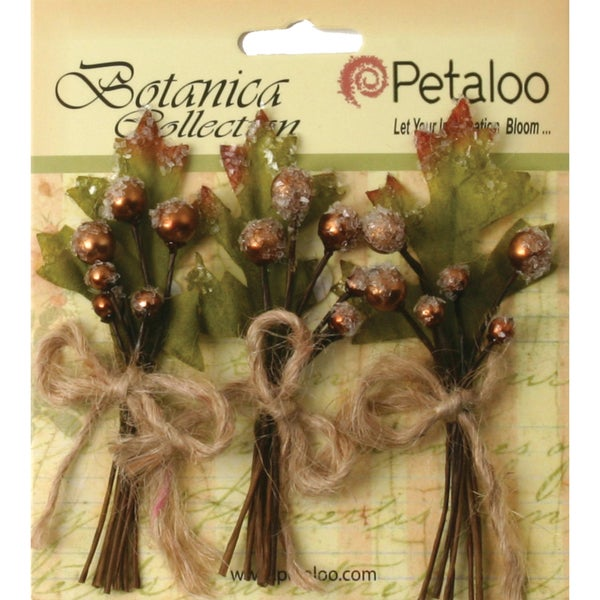 "Botanica Sugared Berry Clusters 3.25"" 3/Pkg-Brown"