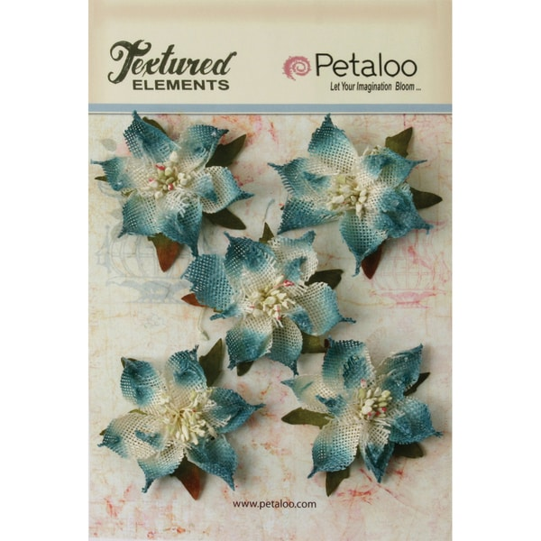 "Textured Elements Burlap Poinsettias 2.5"" 5/Pkg-Denim Blue"