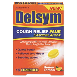 Delsym Cough Relief Plus Honey Lemon Lozenges (Pack of 16)