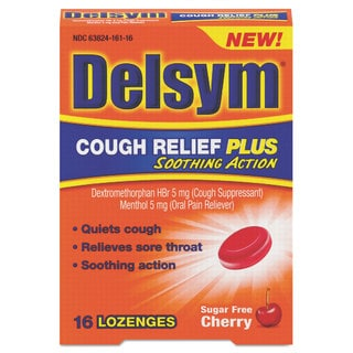 Delsym Cough Relief Plus Sugar Free Cherry Lozenges (Pack of 16)