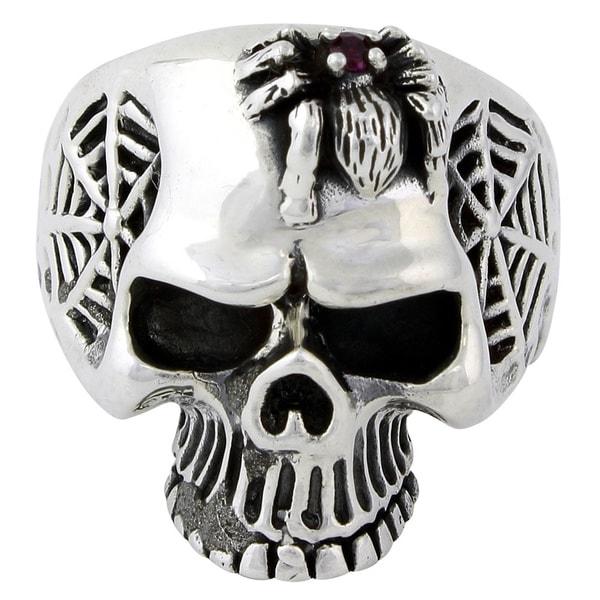 Sterling Silver Wandering Spider Skull Ring 14427594