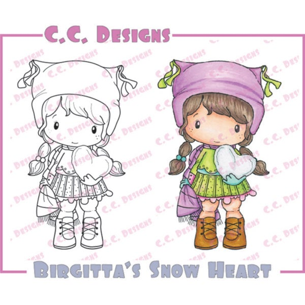 "Swiss Pixie Cling Stamp 3.5""X2.25""-Birgitta's Snow Heart"