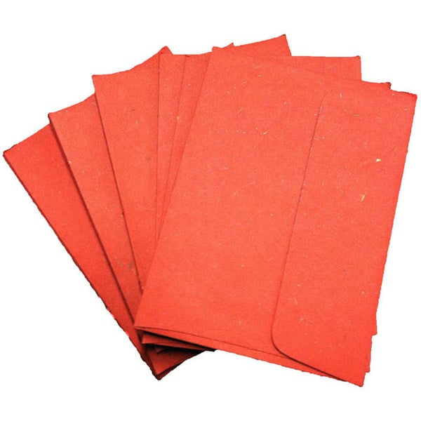 Handmade Elephant Poo Paper A6 Red Envelopes (25pcs)