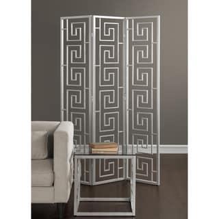 Greek Key Silver Decorative Room Screen