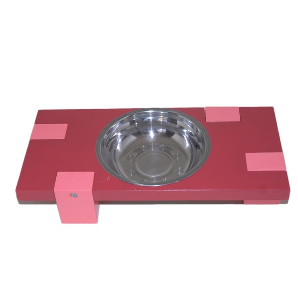 Purrrfect Life Red Single Bowl Wooden Pet Feeder