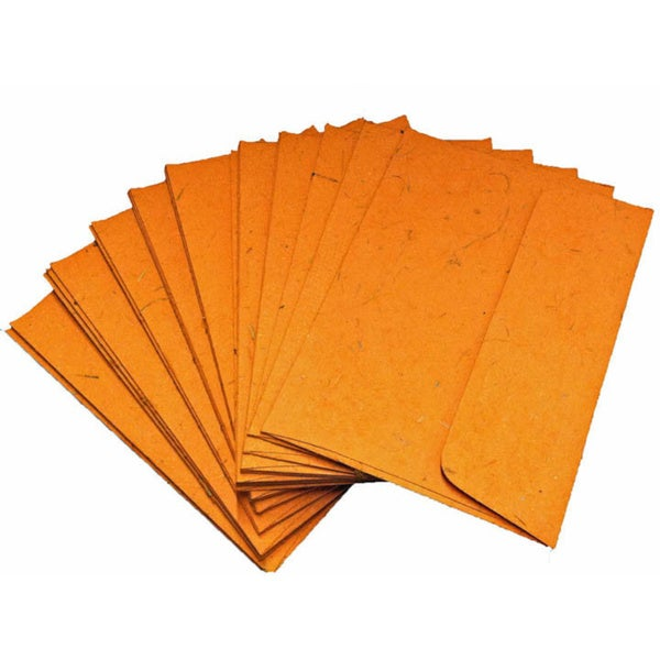 Handmade Elephant Poo Paper A7 Orange Envelopes (25pcs)