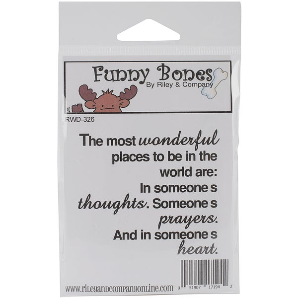 """Riley & Company Funny Bones Cling Mounted Stamp 2.75""""X2.25""""-The Most Wonderful Places To Be"""