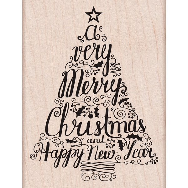 "Hero Arts Mounted Rubber Stamps 3.25""X4.25""-Merry Christmas Tree 14428166"