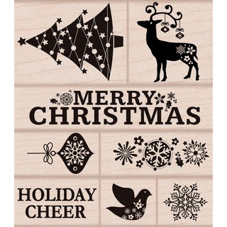 "Hero Arts Mounted Rubber Stamp Set 3.5""X4""-Fancy Christmas"