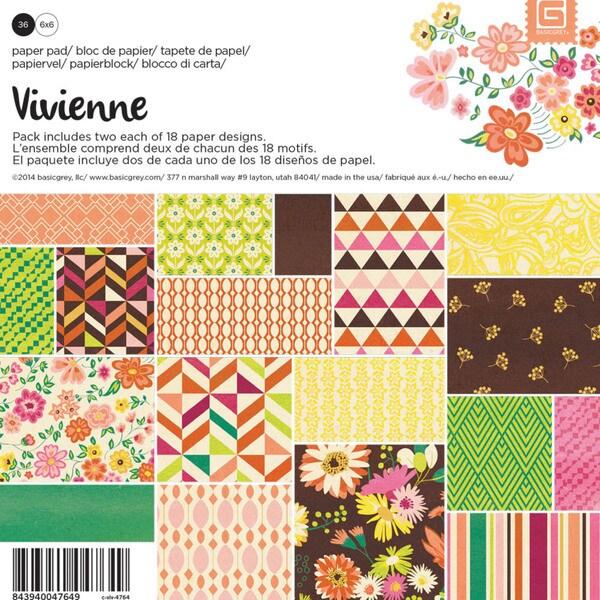 "Basic Grey Paper Pad 6""X6"" 36/Pkg-Vivienne"