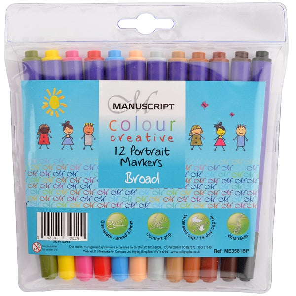 Manuscript Color Creative Broad Tip Felt Markers 12/Pkg-Portrait