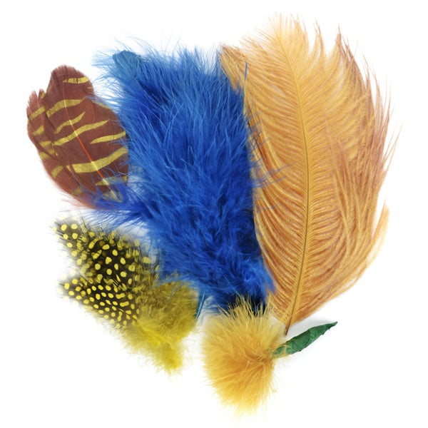 Mix Package Feathers 7 Grams/Pkg-Dark Blue & Gold
