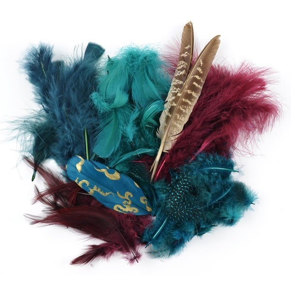 Mix Package Feathers 7 Grams/Pkg-Teal, Wood & Jasper