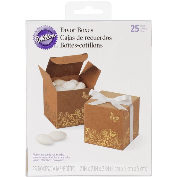 Square Favor Box Kit Makes 25-Kraft W/Gold Foil