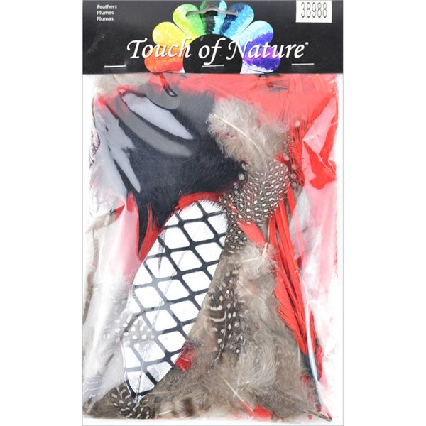 Mix Package Feathers 7 Grams/Pkg-Black, Red & Natural
