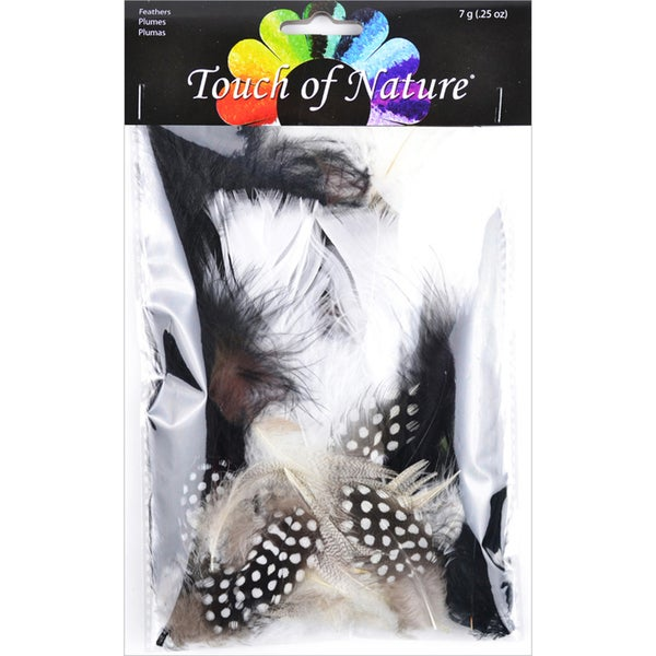 Mix Package Feathers 7 Grams/Pkg-Black, White & Natural