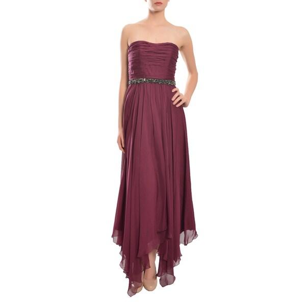 A.B.S. by Allen Schwartz Bordeaux Pleated Silk Chiffon Gown Dress