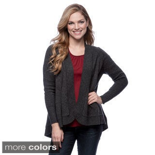 Forte Women's Wool and Cashmere Cable-back Draped Cardigan