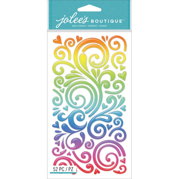 Jolee's Boutique Stickers-Rainbow Swirls