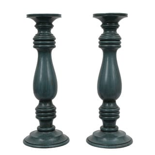 16-inch Resin Glossy Antique Teal Candle Holders (Set of 2)