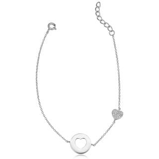 Fremada Gold Over Sterling Silver Cubic Zirconia Cut-out Heart Adjustable Bracelet
