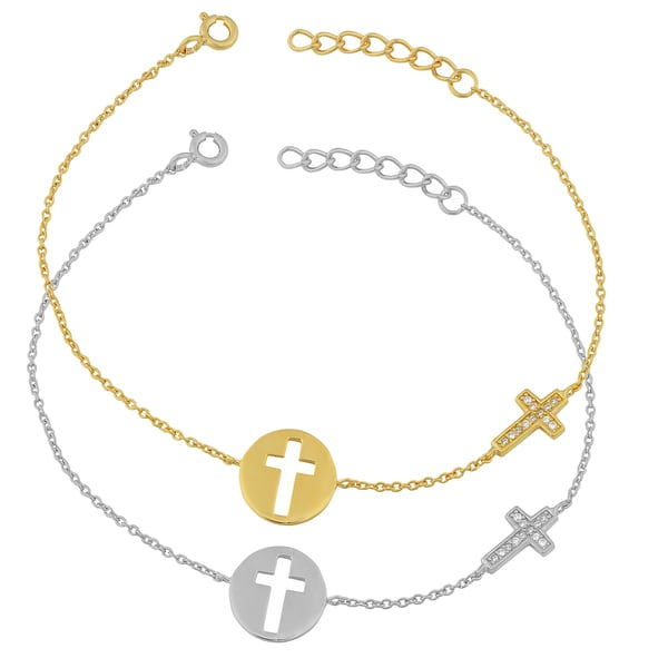 Fremada Gold Over Sterling Silver Cubic Zirconia Cut-out Cross Adjustable Bracelet