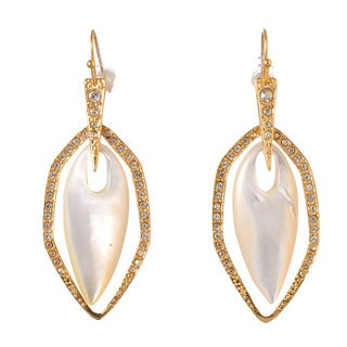 De Buman 18k Yellow Goldplated or Rose Goldplated Mother-of-Pearl & Crystal Earrings
