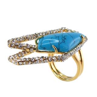 De Buman 18k Yellow Goldplated Metal Irregular Pentagon Turquoise and Crystal Ring