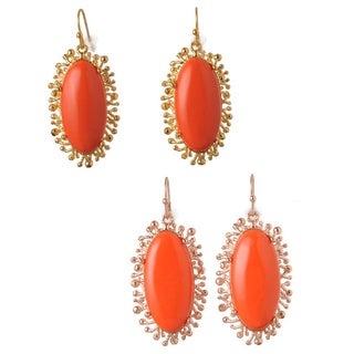 De Buman 18k Goldplated Metal Created Red Coral Earrings