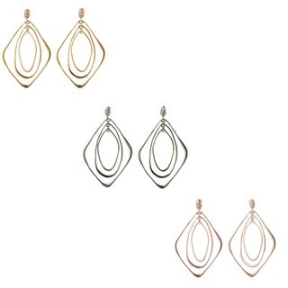 De Buman 18K Yellow Goldplated, White Rhodium Plated or 18K Rose Goldplated White Czech Earrings