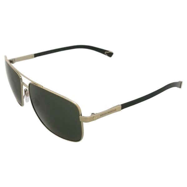 Dolce & Gabbana Men's 'DG 2139 1107/71' Pale Gold and Greyish Green Aviator Sunglasses