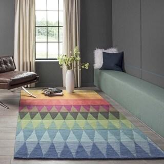 "Cosmopolitan Rainbow Stripe Hand-tufted Wool Rug (2'3"" x 8')"