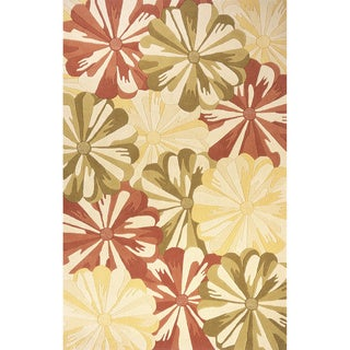 Gold Floral Hand-Tufted Wool Rug (2'3 x 8')
