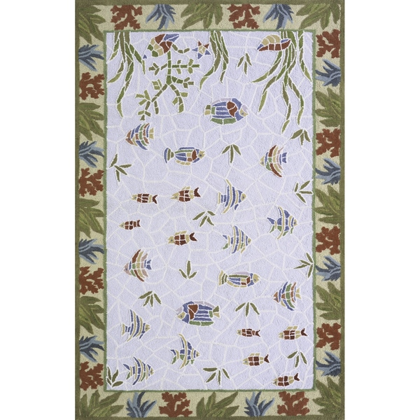 Ocean Fish Light Blue Hand-hooked Cotton Rug (8' x 11')