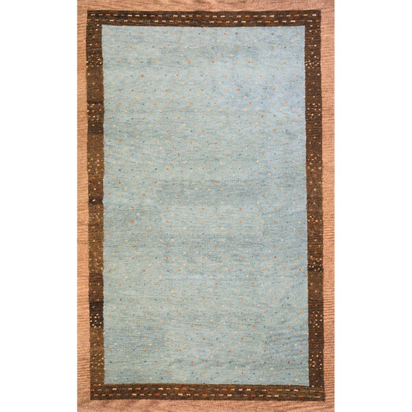 "Sierra Slate Hand-knotted Indian Wool Rug (5'3"" x 8')"