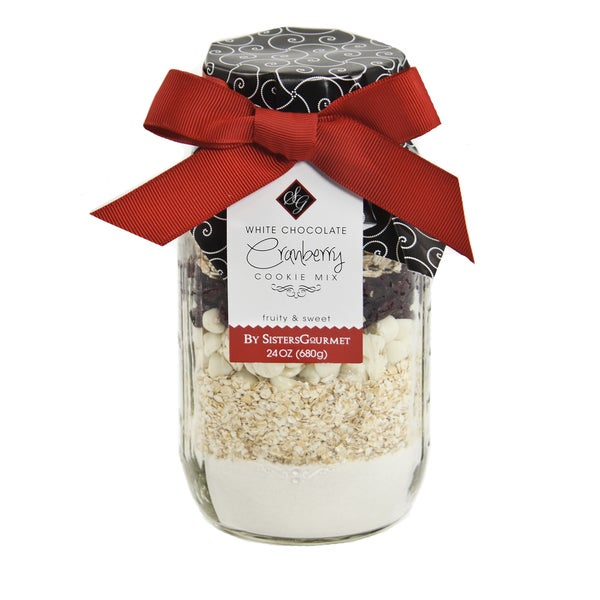 Crisp and Colorful White Chocolate Cranberry Cookie Mix Jar