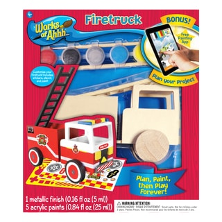 Works of Ahhh... Fire Truck Wood Painting Kit