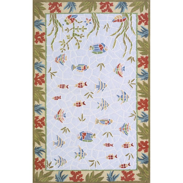 Ocean Fish Light Blue Hand-hooked Cotton Rug (5' x 8')