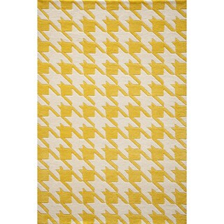 Cosmopolitan Houndstooth Yellow Hand-tufted Wool Rug (5' x 8')