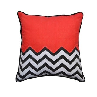 Half Solid - Half Chevron 20-inch Decorative Throw Pillow