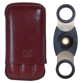 3-Finger Bordeaux Leather Cigar Case with a Perfect Cutter