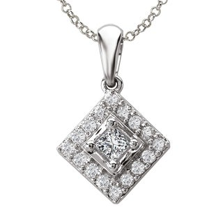 Avanti 14k White Gold 1/8ct TDW Square Halo Diamond Pendant (G-H, SI1-SI2)