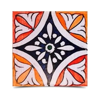 Pack of 40 Asfi Rose Hand-painted and Handmade 4-inch x 4-inch Floor and Wall Tile (Morocco)
