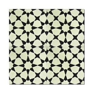Pack of 12 Menara Black Stars Handmade Cement and Granite 8-inch x 8-inch Floor and Wall Tile (Morocco)